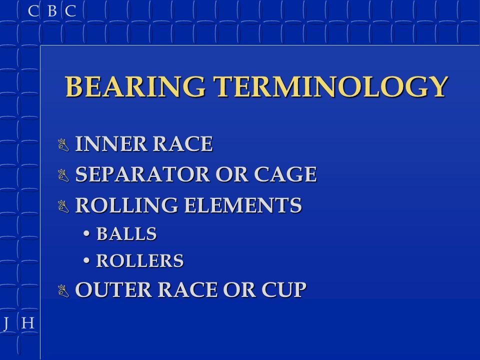 J H C B C BEARING TYPES B CYLINDRICAL BALL BEARING B CYLINDRICAL ROLLER BEARING B TAPERED ROLLER BEARING B NEEDLE ROLLER BEARING