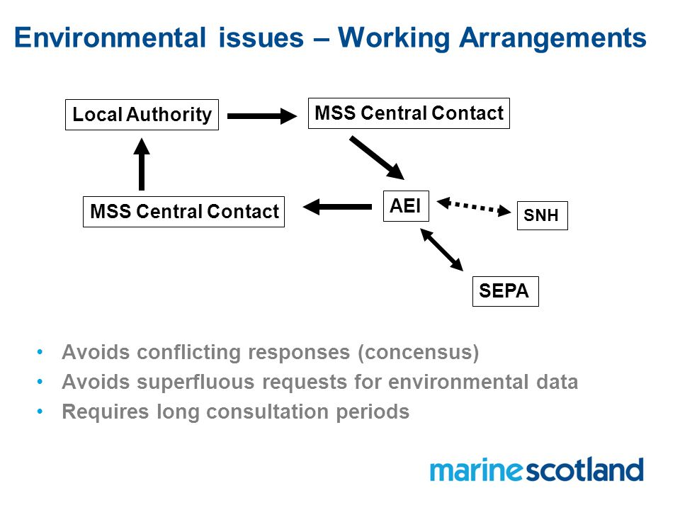Environmental issues – Working Arrangements Local Authority MSS Central Contact AEI SEPA SNH Avoids conflicting responses (concensus) Avoids superfluous requests for environmental data Requires long consultation periods