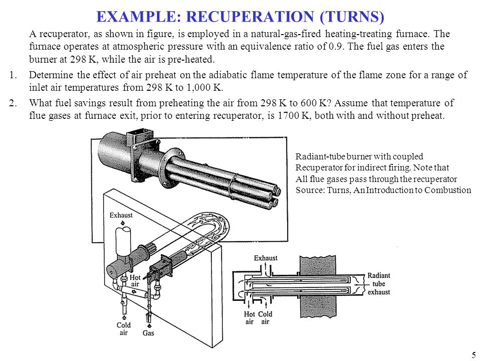 5 EXAMPLE: RECUPERATION (TURNS) A recuperator, as shown in figure, is employed in a natural-gas-fired heating-treating furnace.