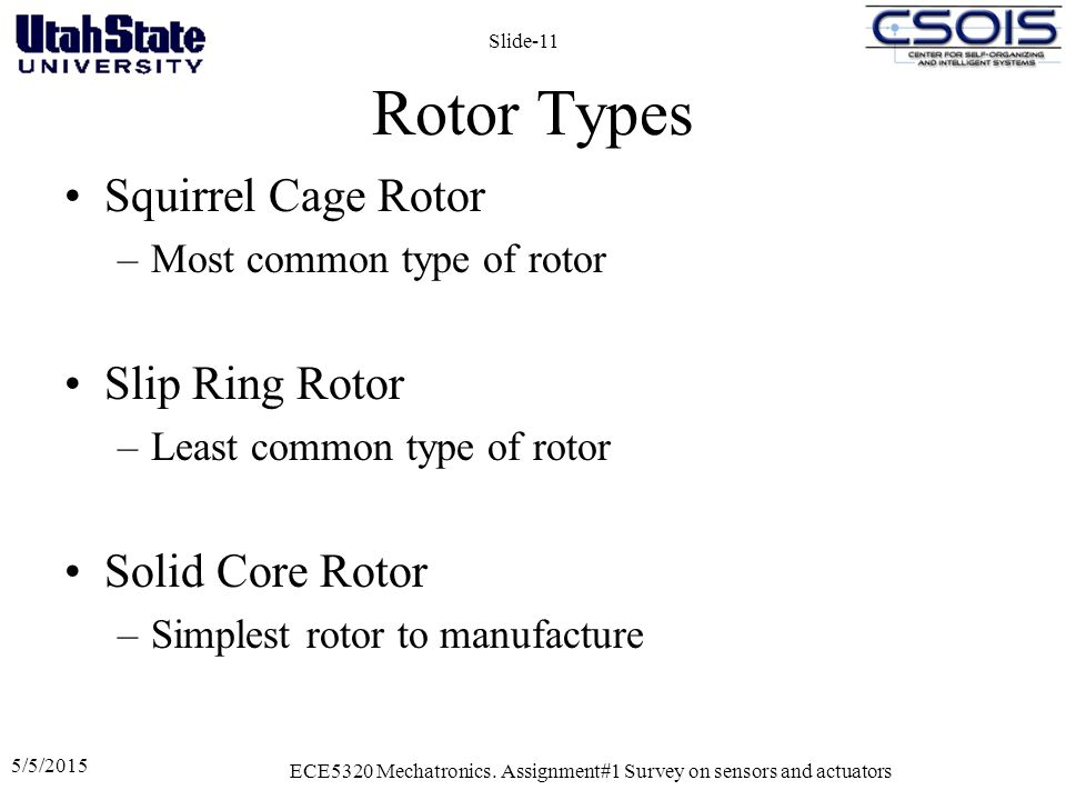 Rotor Types Squirrel Cage Rotor –Most common type of rotor Slip Ring Rotor –Least common type of rotor Solid Core Rotor –Simplest rotor to manufacture