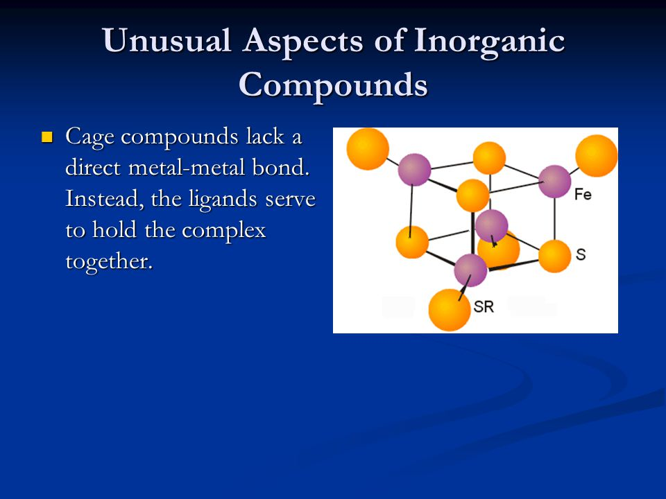Unusual Aspects of Inorganic Compounds Cage compounds lack a direct metal-metal bond.