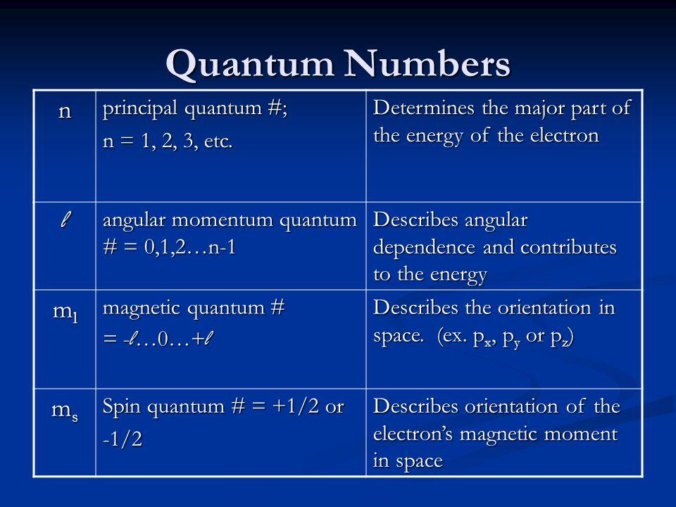 Quantum Numbers n principal quantum #; n = 1, 2, 3, etc.