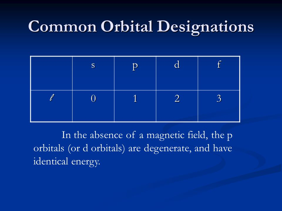 Common Orbital Designations spdf l0123 In the absence of a magnetic field, the p orbitals (or d orbitals) are degenerate, and have identical energy.