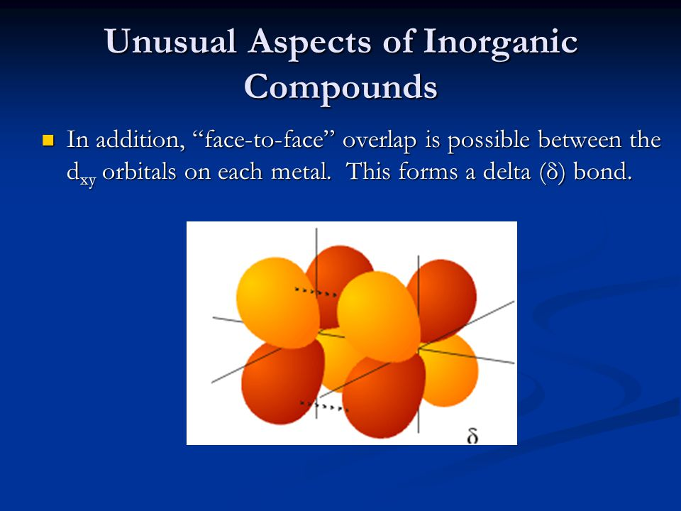 Unusual Aspects of Inorganic Compounds In addition, face-to-face overlap is possible between the d xy orbitals on each metal.