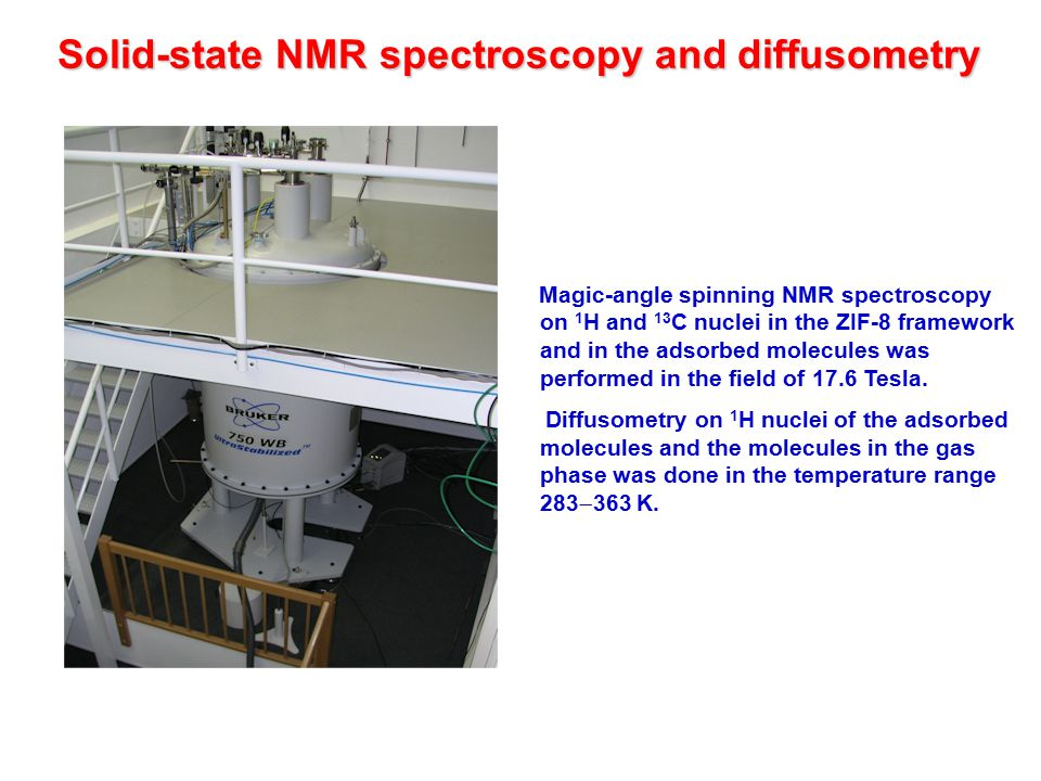 Solid-state NMR spectroscopy and diffusometry Magic-angle spinning NMR spectroscopy on 1 H and 13 C nuclei in the ZIF-8 framework and in the adsorbed molecules was performed in the field of 17.6 Tesla.