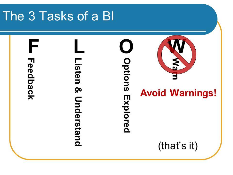 The 3 Tasks of a BI Avoid Warnings.