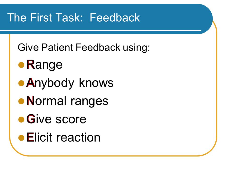 The First Task: Feedback Give Patient Feedback using: R A N G E Range Anybody knows Normal ranges Give score Elicit reaction