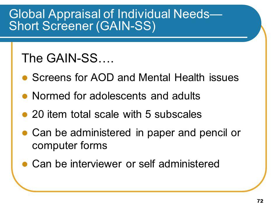 Global Appraisal of Individual Needs— Short Screener (GAIN-SS) The GAIN-SS….