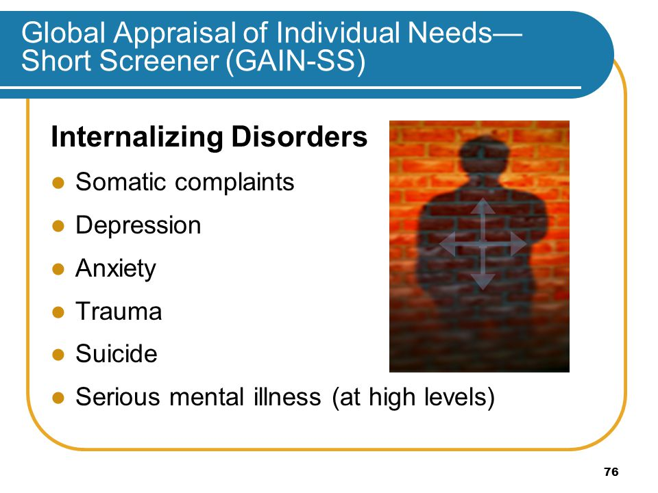 Global Appraisal of Individual Needs— Short Screener (GAIN-SS) Internalizing Disorders Somatic complaints Depression Anxiety Trauma Suicide Serious mental illness (at high levels) 76