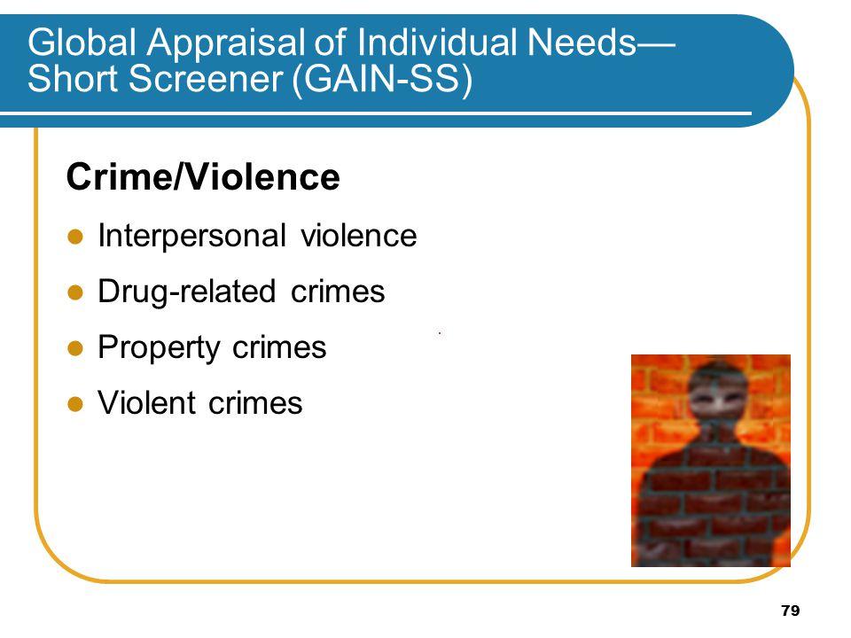 Global Appraisal of Individual Needs— Short Screener (GAIN-SS) Crime/Violence Interpersonal violence Drug-related crimes Property crimes Violent crimes 79