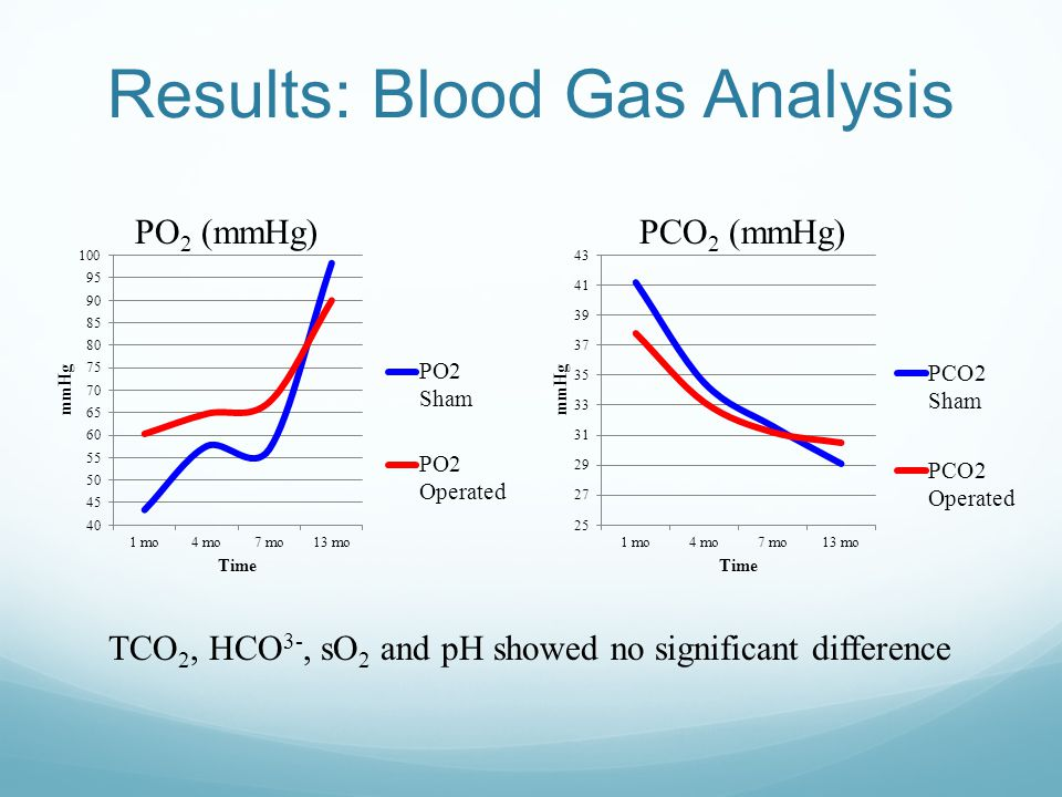 Results: Blood Gas Analysis PO 2 (mmHg)PCO 2 (mmHg) TCO 2, HCO 3-, sO 2 and pH showed no significant difference