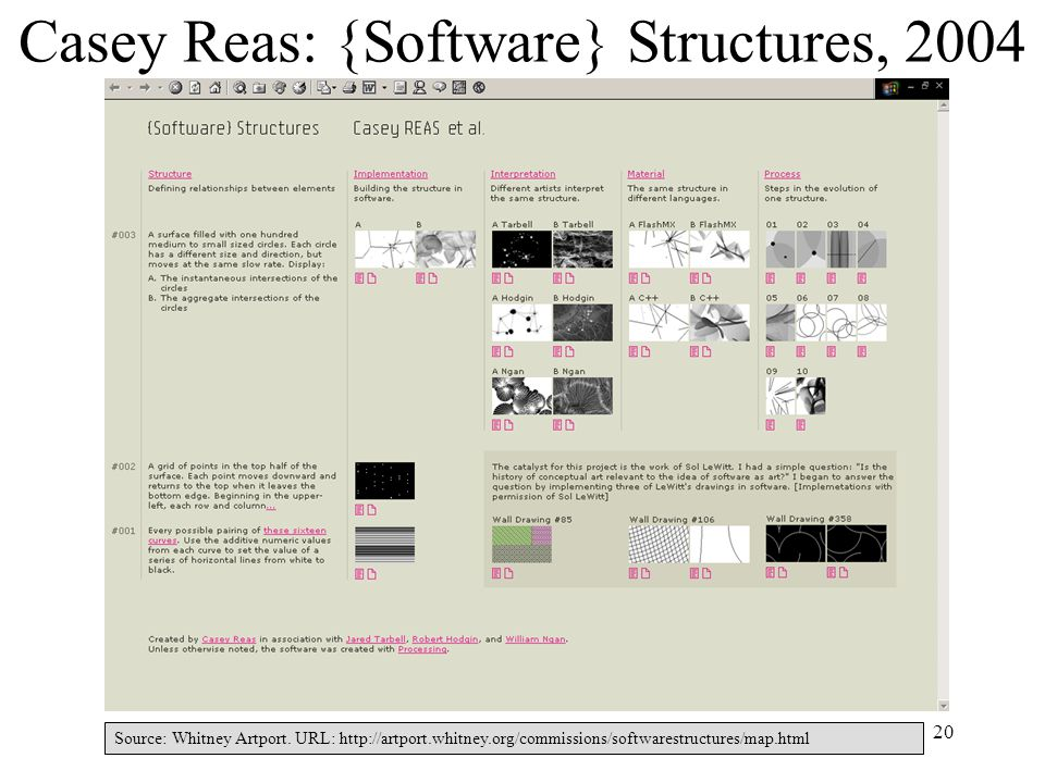 20 Casey Reas: {Software} Structures, 2004 Source: Whitney Artport.