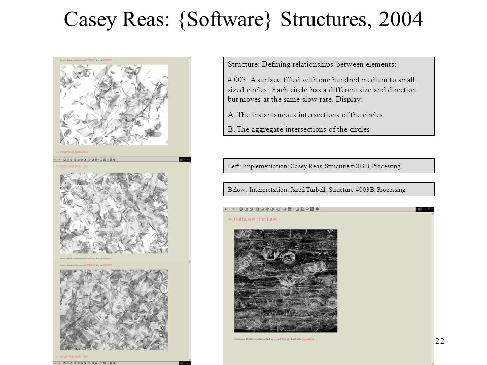 22 Casey Reas: {Software} Structures, 2004 Structure: Defining relationships between elements: # 003: A surface filled with one hundred medium to small sized circles.