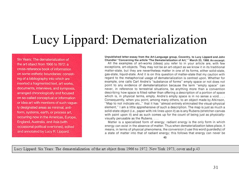 31 Lucy Lippard: Dematerialization Lucy Lippard: Six Years: The dematerialization of the art object from 1966 to 1972.