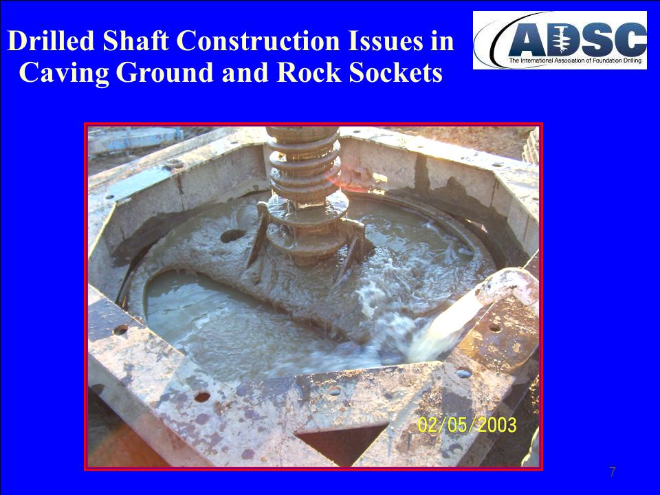 48 Closure Details of shaft / column transitions and construction problems related to caving ground and rock sockets have been presented for consideration to achieve a successful completion of drilled shafts in this very difficult application.