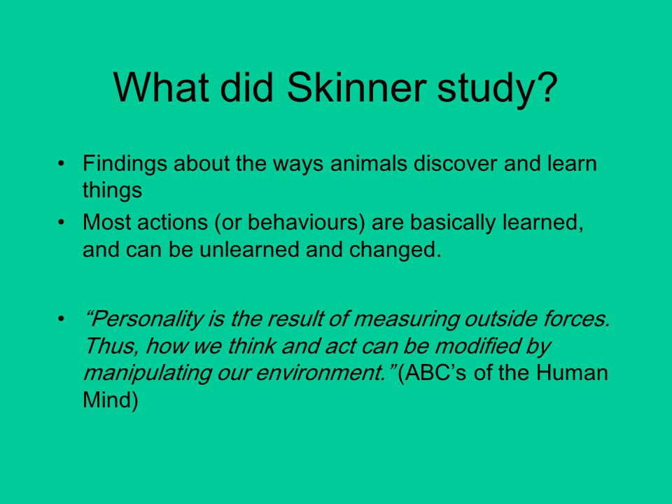 What did Skinner study.