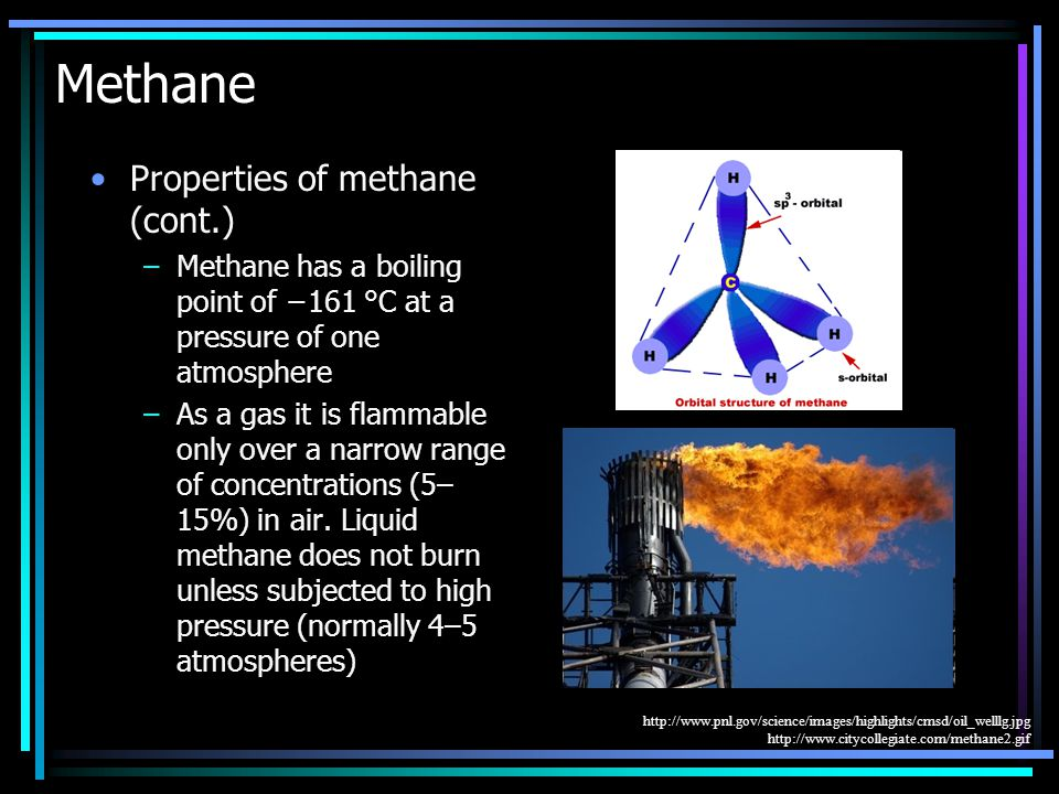 Methane Properties of methane (cont.) –Methane has a boiling point of −161 °C at a pressure of one atmosphere –As a gas it is flammable only over a narrow range of concentrations (5– 15%) in air.