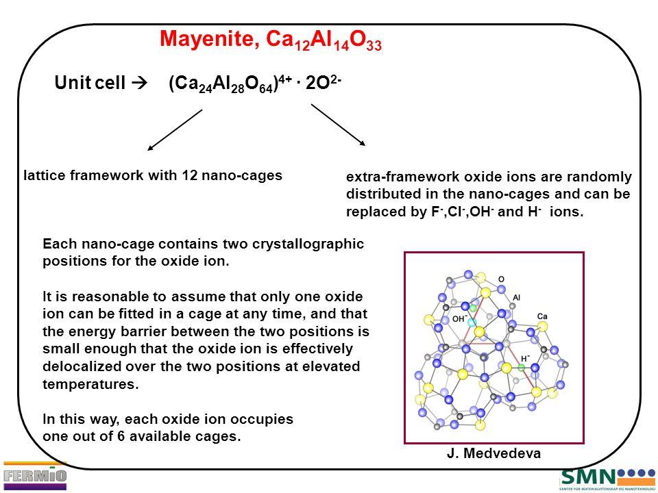 Mayenite, Ca 12 Al 14 O 33 Unit cell  (Ca 24 Al 28 O 64 ) 4+ · 2O 2- lattice framework with 12 nano-cages extra-framework oxide ions are randomly dis