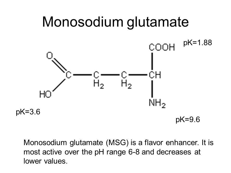 Monosodium glutamate pK=1.88 pK=9.6 pK=3.6 Monosodium glutamate (MSG) is a flavor enhancer.