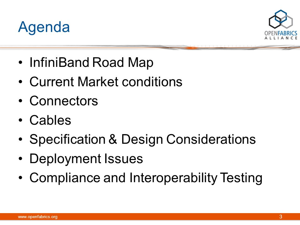 Addressing High Bandwidth Cable Challenges www.openfabrics.org 14 Author: John Monson Date: March 15, 2010