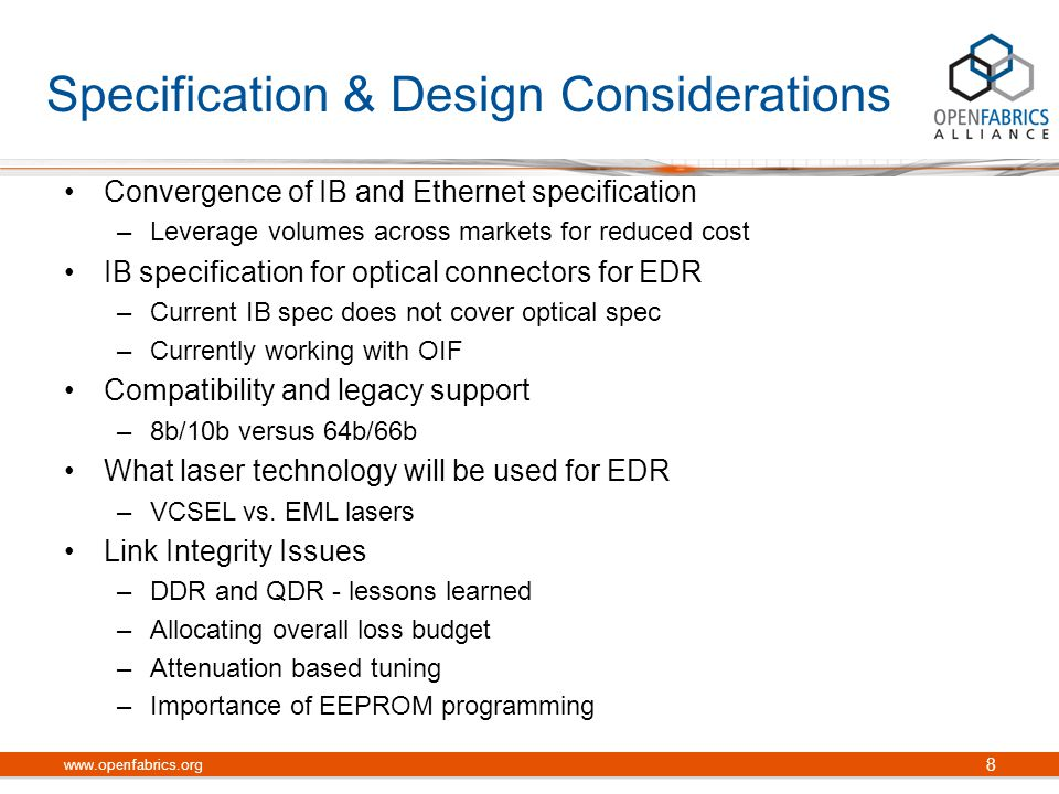 Deployment Issues Power requirements Cooling requirements Exascale Computing with 10,000+ nodes –Cable management –Distance limitation Other Considerations –Cost –2011 EDR availability www.openfabrics.org 9