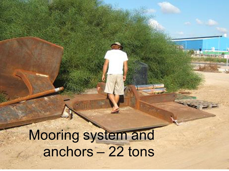Mooring system and anchors – 22 tons