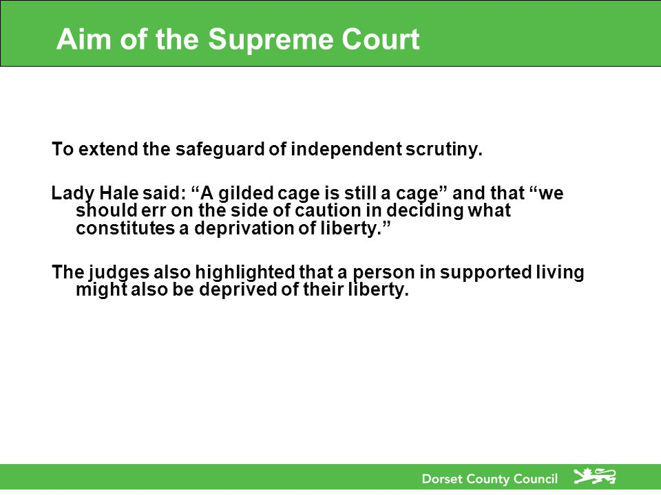 Aim of the Supreme Court To extend the safeguard of independent scrutiny.