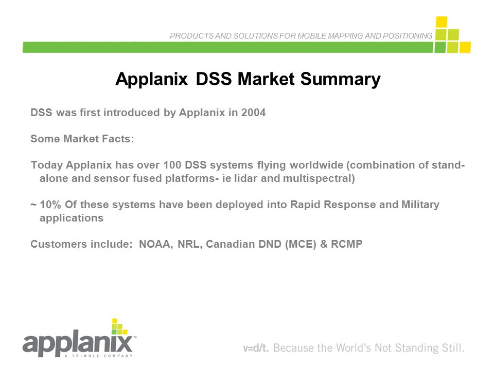 PRODUCTS AND SOLUTIONS FOR MOBILE MAPPING AND POSITIONING Applanix DSS Market Summary DSS was first introduced by Applanix in 2004 Some Market Facts:
