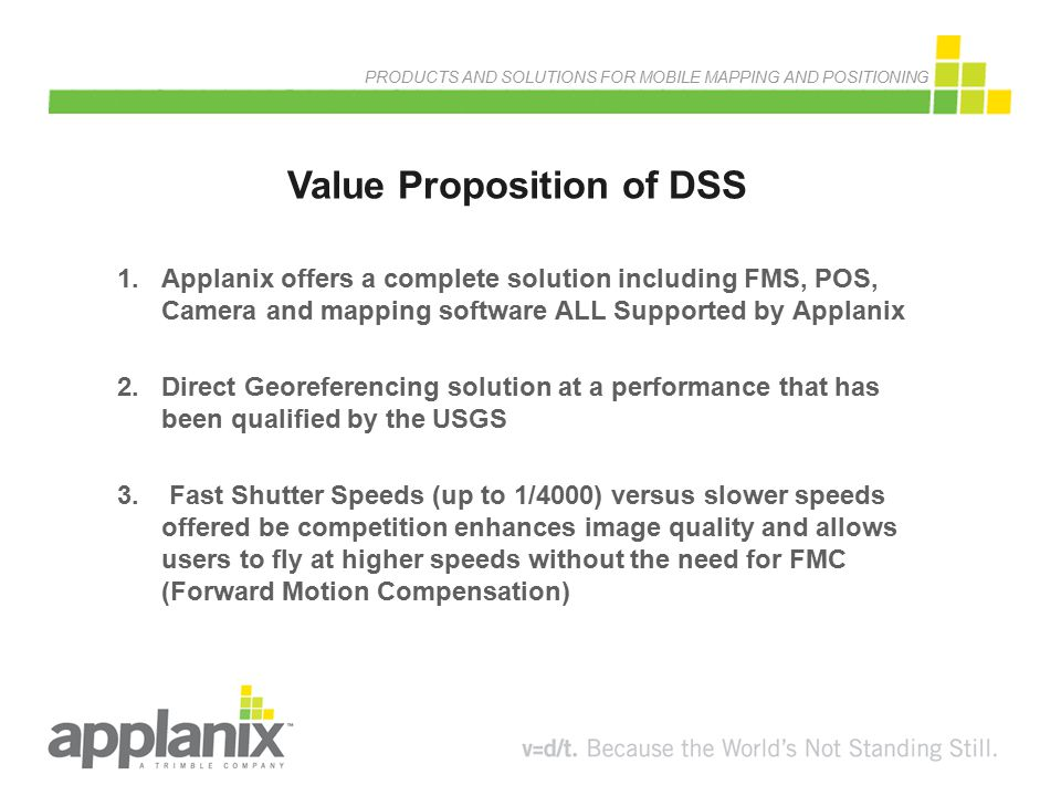 PRODUCTS AND SOLUTIONS FOR MOBILE MAPPING AND POSITIONING Value Proposition of DSS 1.Applanix offers a complete solution including FMS, POS, Camera an
