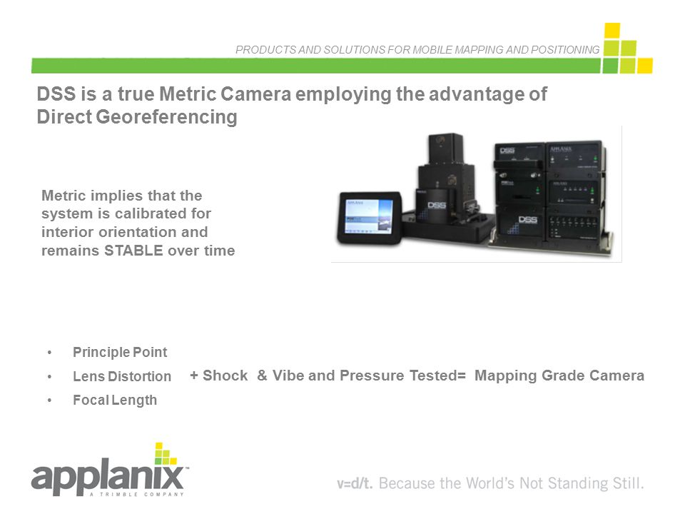 PRODUCTS AND SOLUTIONS FOR MOBILE MAPPING AND POSITIONING DSS is a true Metric Camera employing the advantage of Direct Georeferencing Metric implies