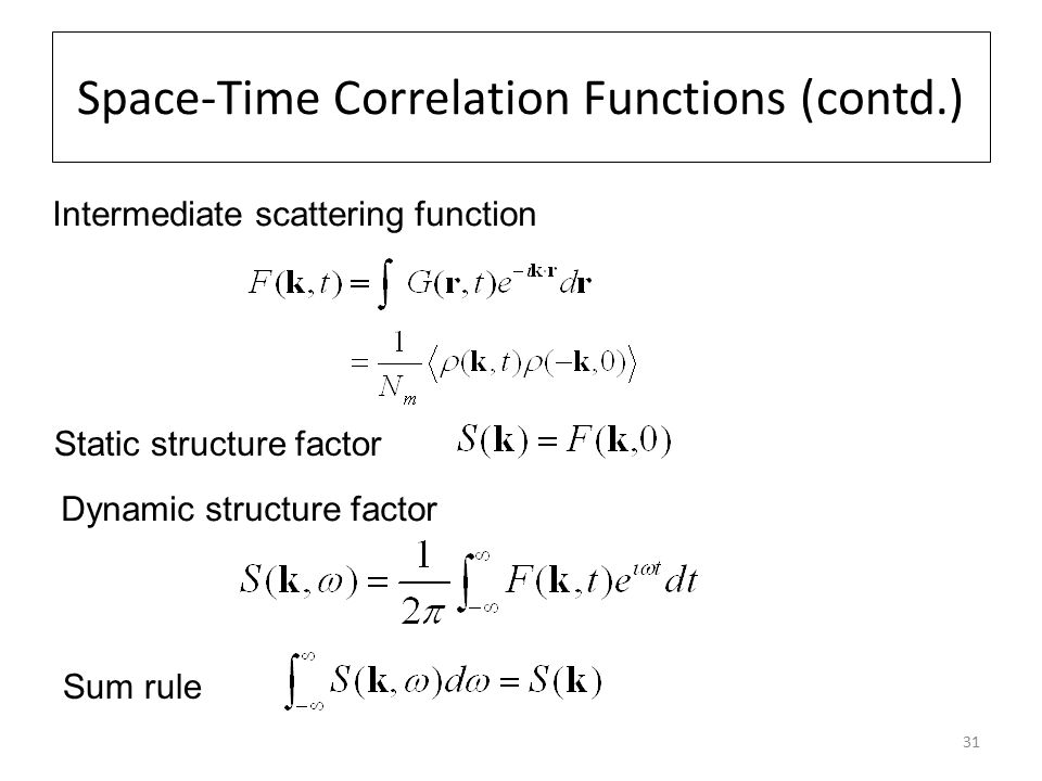 31 Space-Time Correlation Functions (contd.) Intermediate scattering function Static structure factor Dynamic structure factor Sum rule