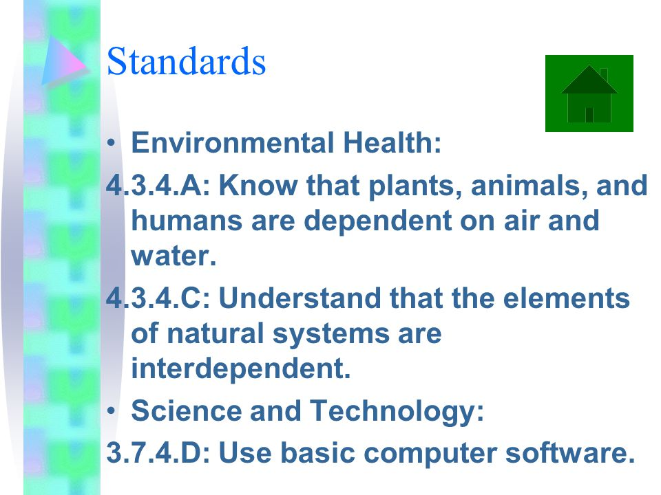 Standards Environmental Health: 4.3.4.A: Know that plants, animals, and humans are dependent on air and water.
