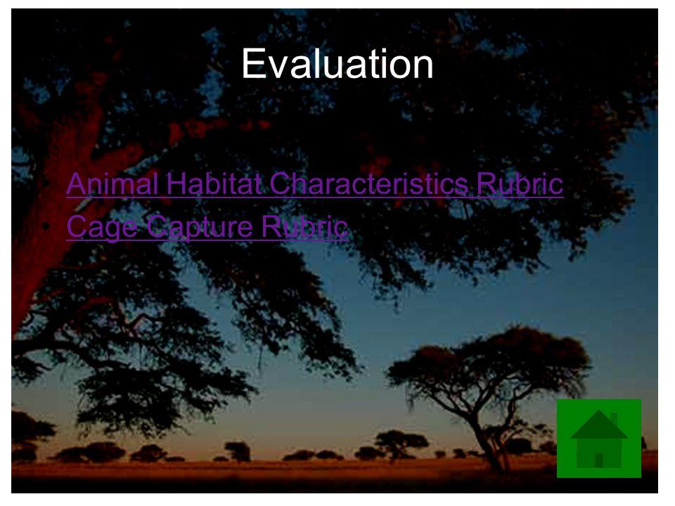 Evaluation Animal Habitat Characteristics Rubric Cage Capture Rubric
