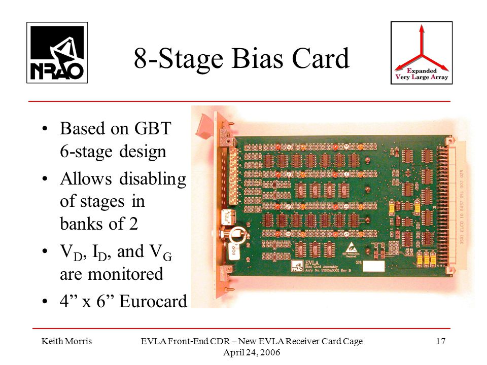 Keith MorrisEVLA Front-End CDR – New EVLA Receiver Card Cage April 24, 2006 17 8-Stage Bias Card Based on GBT 6-stage design Allows disabling of stages in banks of 2 V D, I D, and V G are monitored 4 x 6 Eurocard