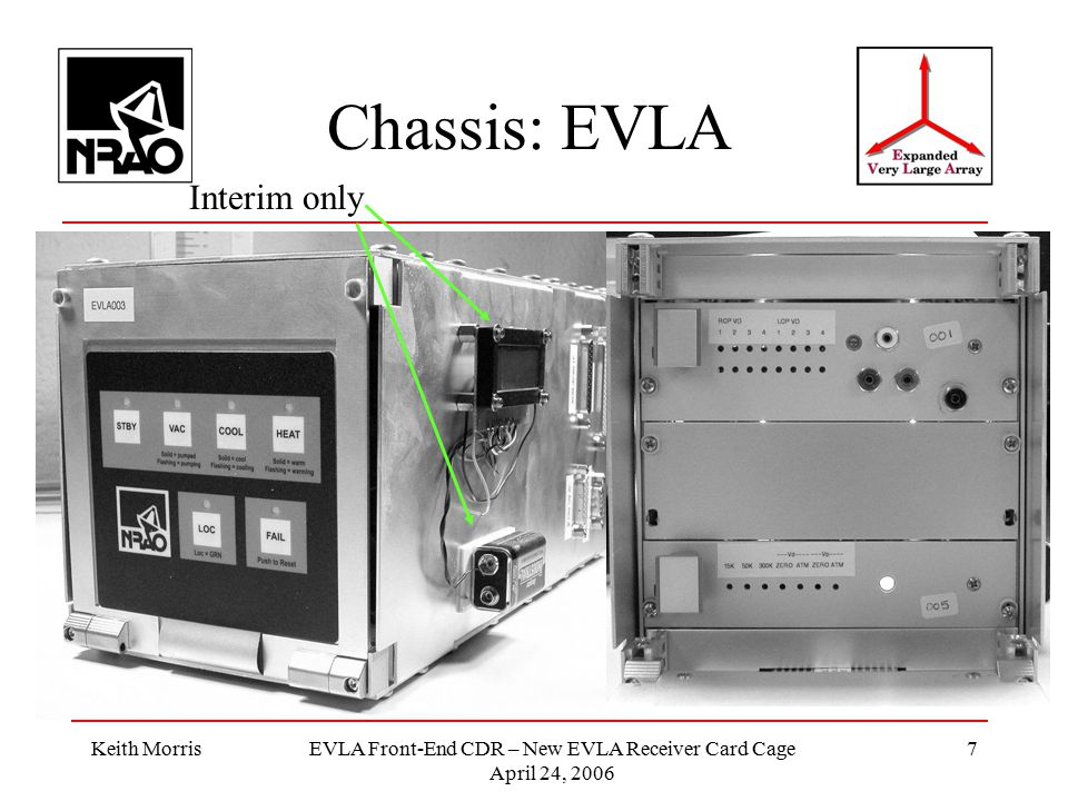 Keith MorrisEVLA Front-End CDR – New EVLA Receiver Card Cage April 24, 2006 7 Chassis: EVLA Interim only