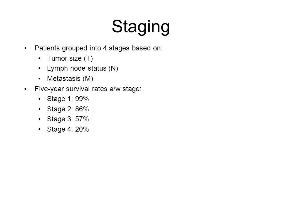 Staging Patients grouped into 4 stages based on: Tumor size (T) Lymph node status (N) Metastasis (M) Five-year survival rates a/w stage: Stage 1: 99%