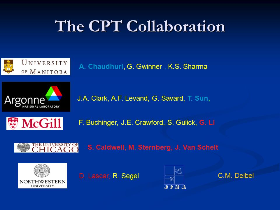 The CPT Collaboration A. Chaudhuri, G. Gwinner, K.S.