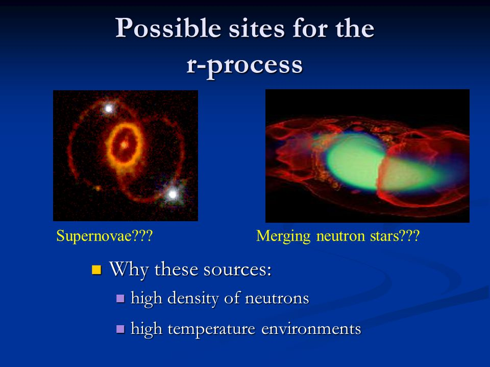 Possible sites for the r-process Why these sources: Why these sources: high density of neutrons high density of neutrons high temperature environments high temperature environments Supernovae???Merging neutron stars???