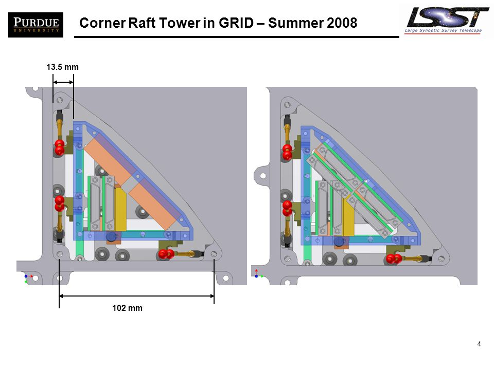 5 Corner with new GRID and Raft hold-downs 17.0 mm 103 mm same spacing between cage and Grid bay walls as in Science Raft/Towers for new raft hold-downs