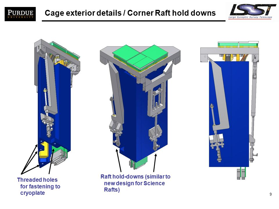 10 Corner Raft/Towers in GRID/Cryoplate A single Corner Raft-Tower design in all corners of GRID/Cryoplate  Corner Raft-Towers are interchangeable  Sensor, FEE and raft-hold-down orientation w.r.t.