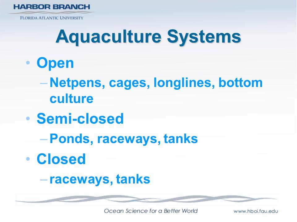 Aquaculture Systems Open –Netpens, cages, longlines, bottom culture Semi-closed –Ponds, raceways, tanks Closed –raceways, tanks