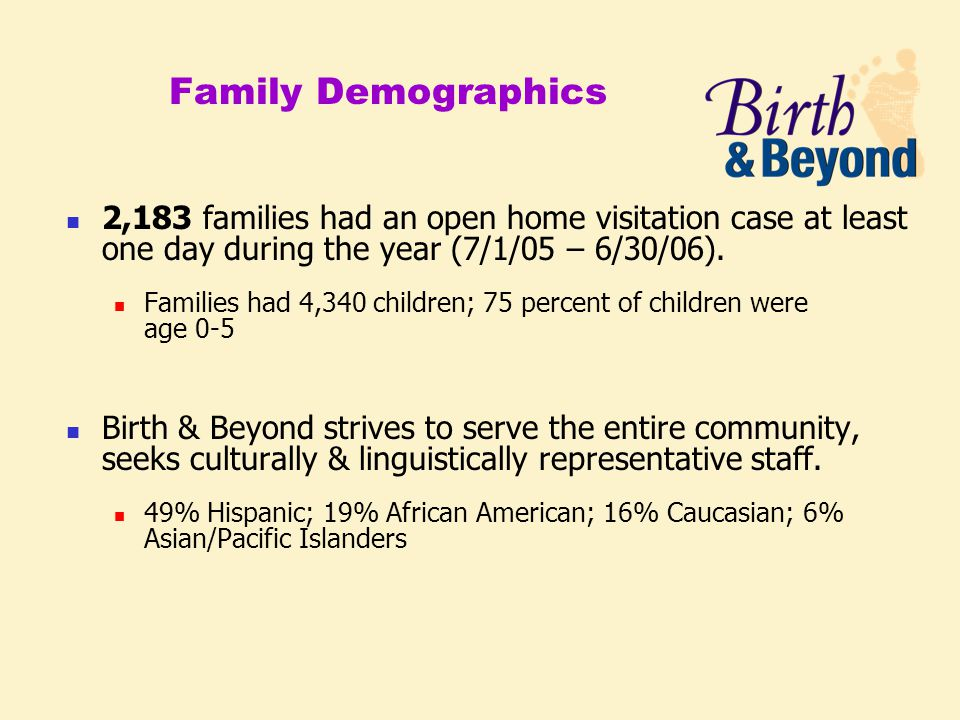 Family Demographics 2,183 families had an open home visitation case at least one day during the year (7/1/05 – 6/30/06).