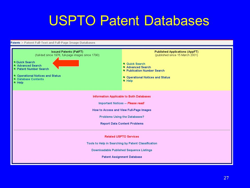 27 USPTO Patent Databases