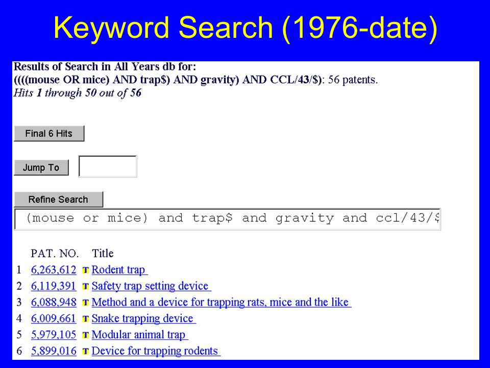 34 Keyword Search (1976-date)