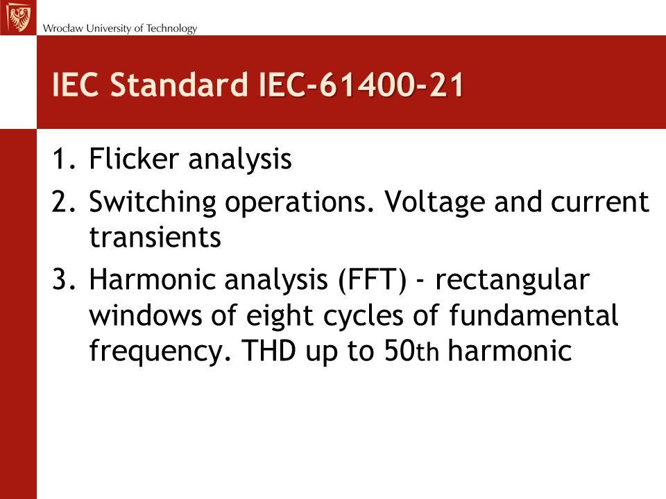 IEC-61400-21 IEC Standard IEC-61400-21 1.Flicker analysis 2.Switching operations.