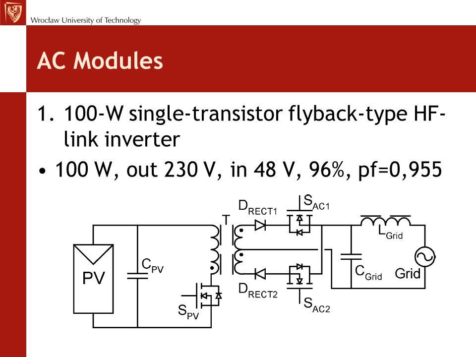 AC Modules 1.100-W single-transistor flyback-type HF- link inverter 100 W, out 230 V, in 48 V, 96%, pf=0,955