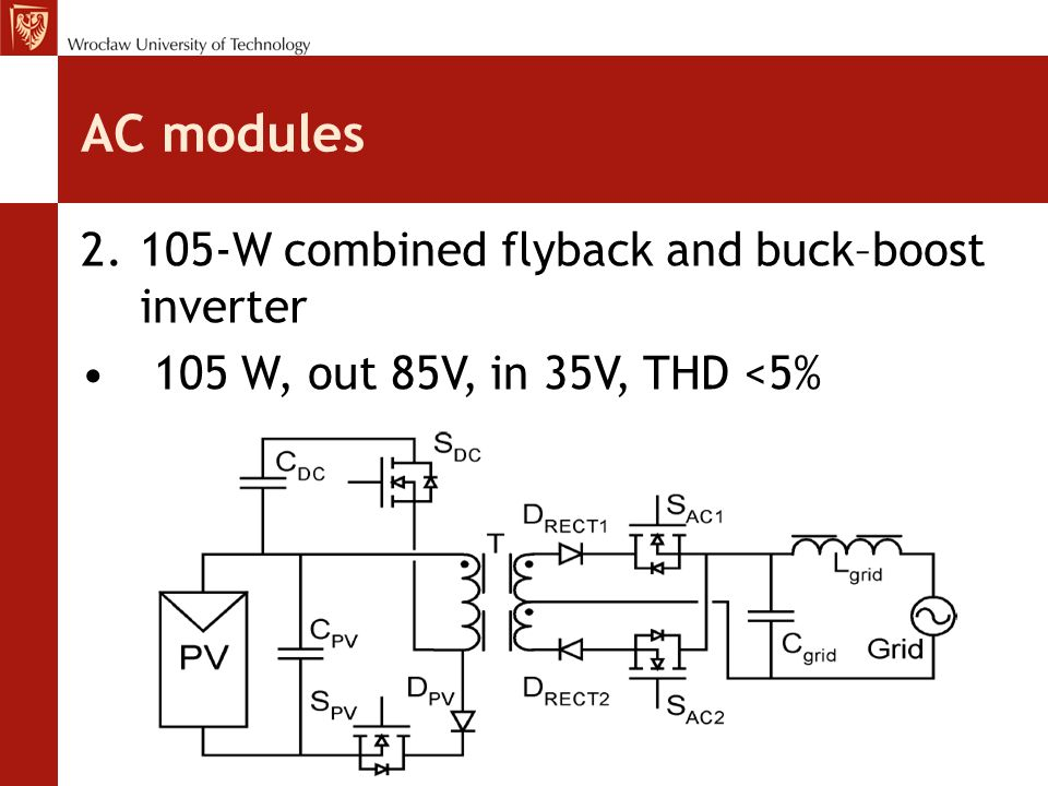 AC modules 2.105-W combined flyback and buck–boost inverter 105 W, out 85V, in 35V, THD <5%