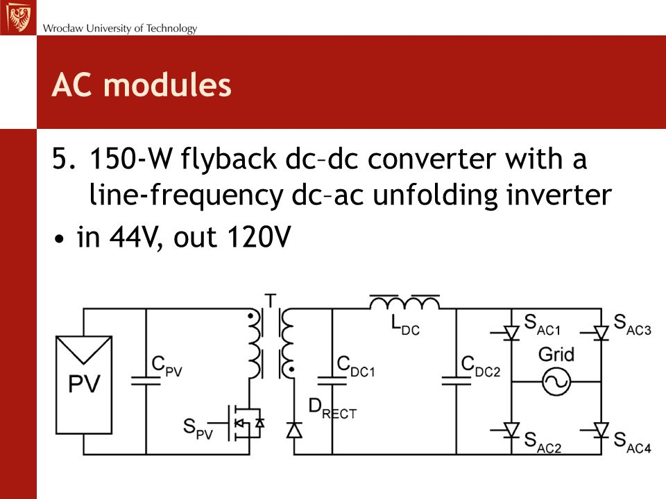 AC modules 5.150-W flyback dc–dc converter with a line-frequency dc–ac unfolding inverter in 44V, out 120V