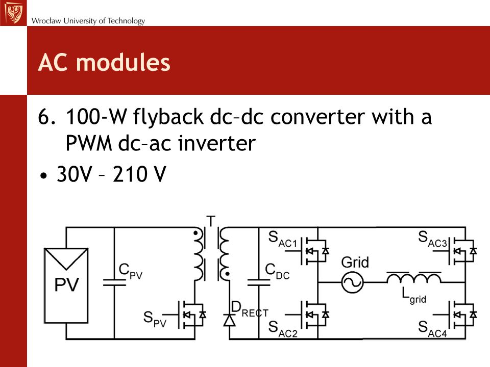 AC modules 6.100-W flyback dc–dc converter with a PWM dc–ac inverter 30V – 210 V