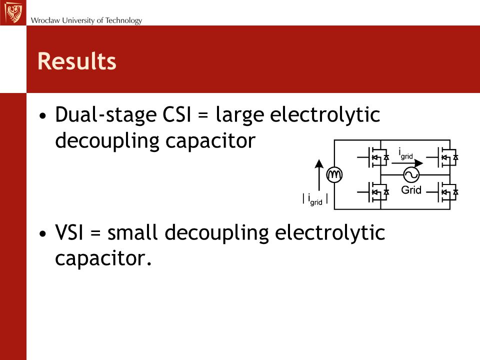 Results Dual-stage CSI = large electrolytic decoupling capacitor VSI = small decoupling electrolytic capacitor.